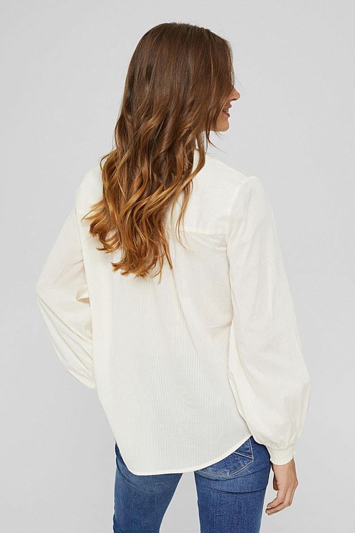 Bluse mit Strukturstreifen, 100% Baumwolle, OFF WHITE, detail image number 3