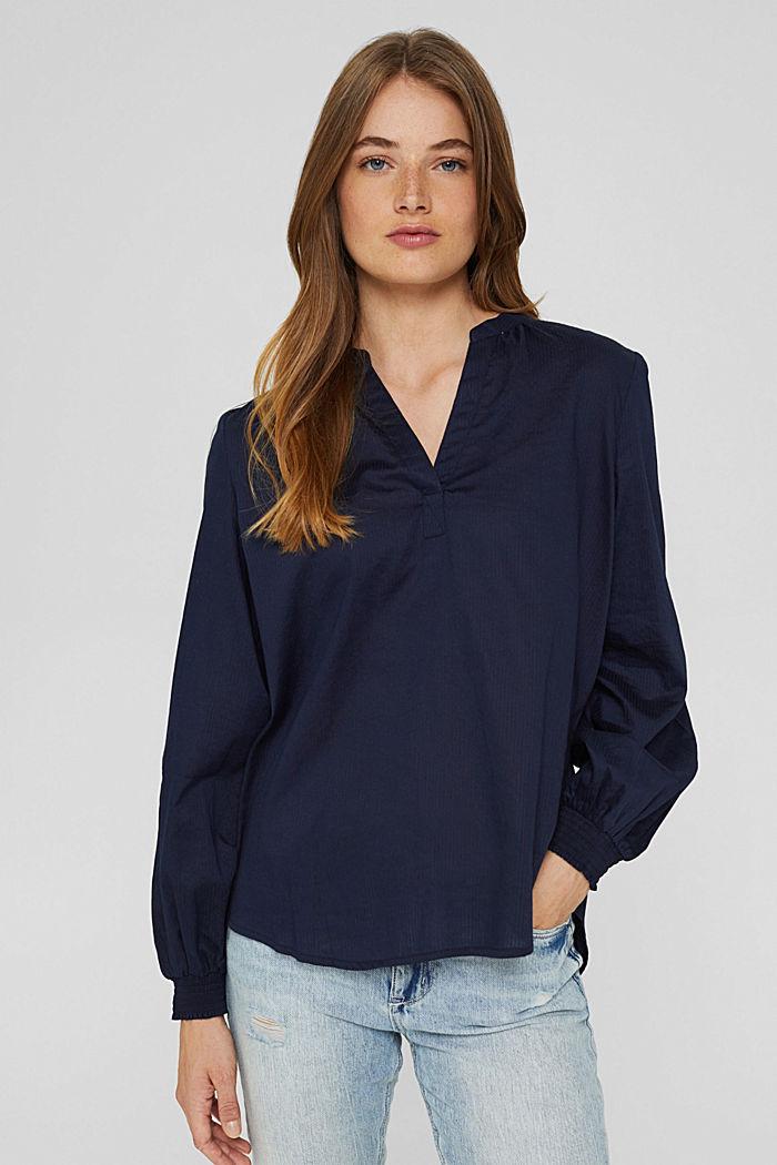 Bluse mit Strukturstreifen, 100% Baumwolle, NAVY, detail image number 0