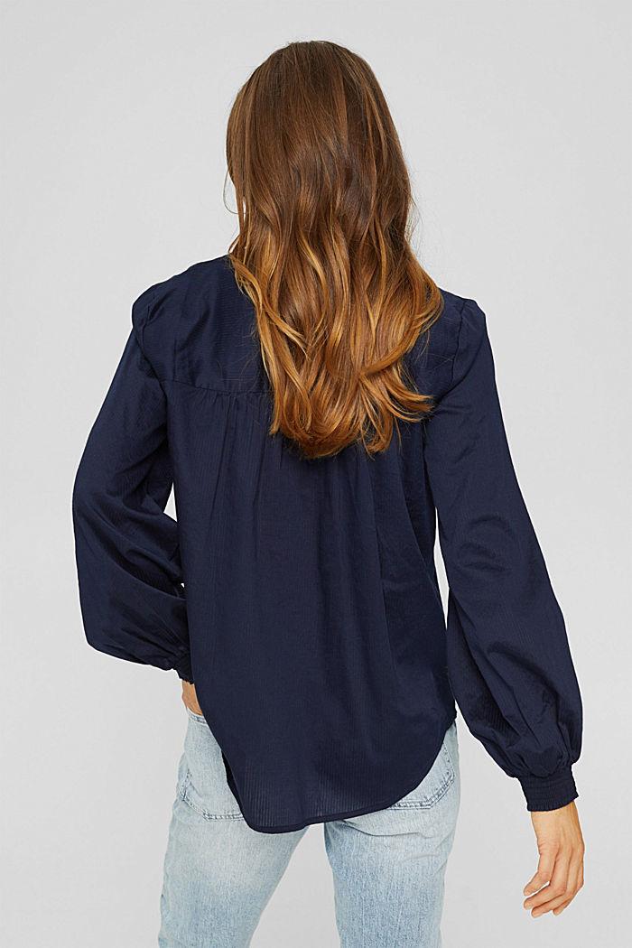 Bluse mit Strukturstreifen, 100% Baumwolle, NAVY, detail image number 3