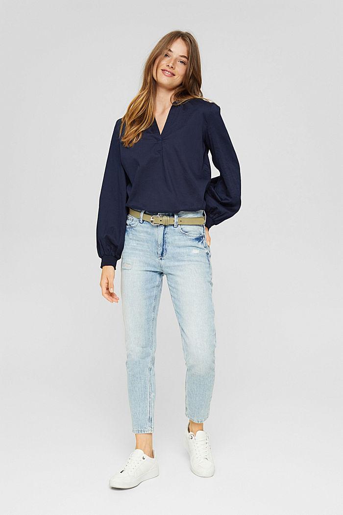 Bluse mit Strukturstreifen, 100% Baumwolle, NAVY, detail image number 1