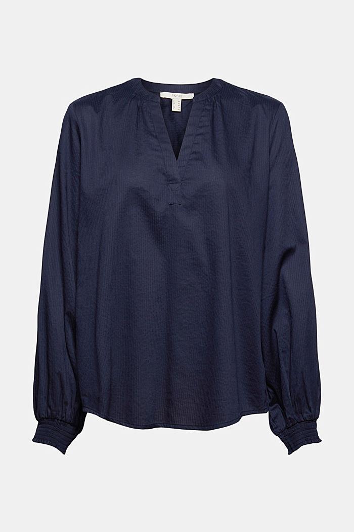 Bluse mit Strukturstreifen, 100% Baumwolle, NAVY, detail image number 6