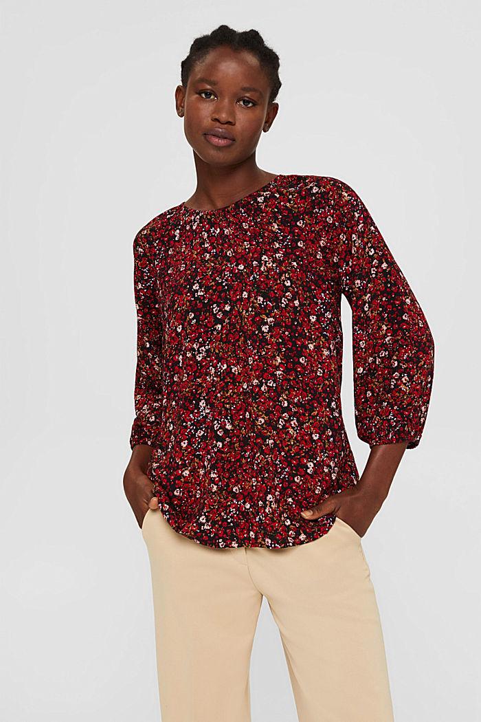 Bluse mit Print, 100% LENZING™ ECOVERO™, BLACK, detail image number 0