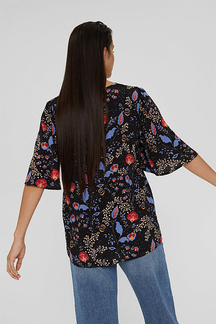 Floral blouse top with LENZING™ ECOVERO™, BLACK, detail image number 3