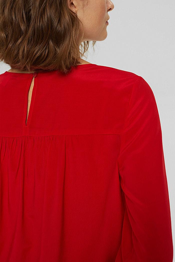 Bluse mit Elastiksaum, LENZING™ ECOVERO™, RED, detail image number 5