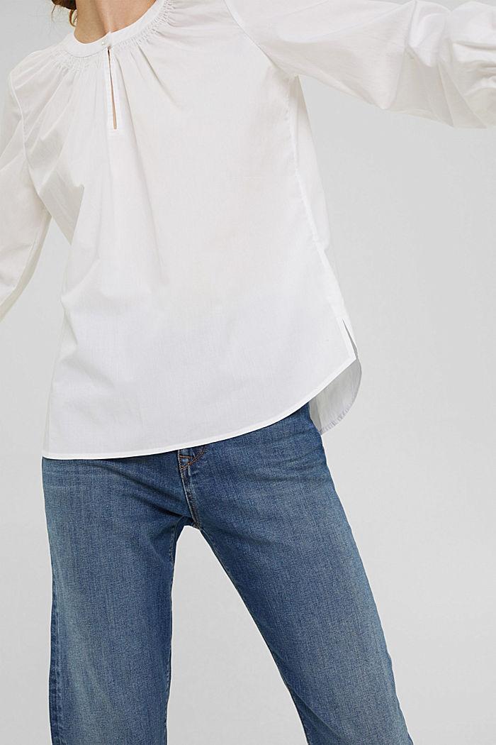 Tunikabluse aus 100% Baumwolle, WHITE, detail image number 2