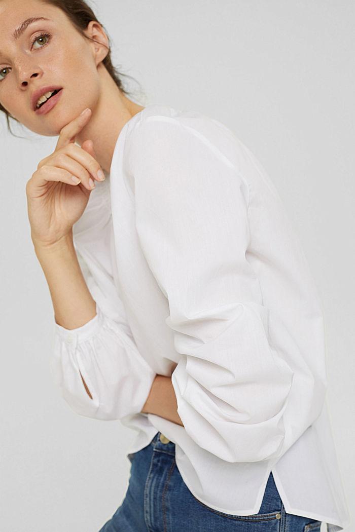 Tunikabluse aus 100% Baumwolle, WHITE, detail image number 5