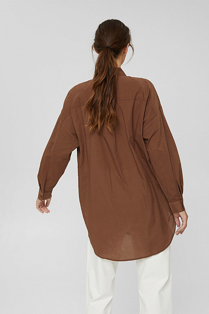 EarthColors® lange blouse, biologisch katoen, RUST BROWN, detail image number 3