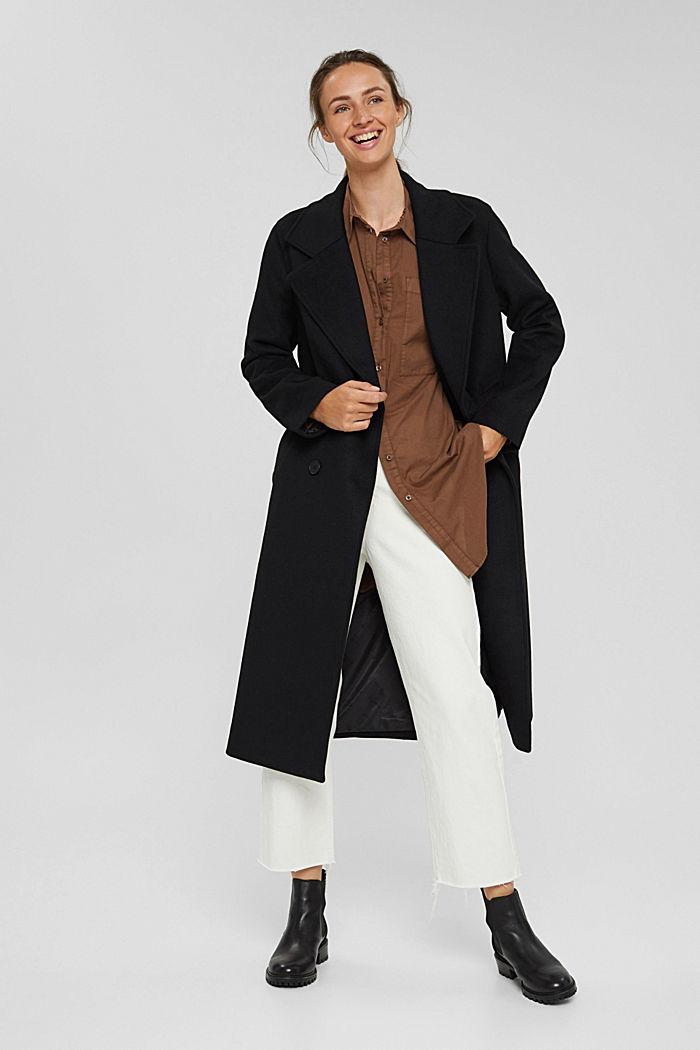 EarthColors® lange blouse, biologisch katoen, RUST BROWN, detail image number 1