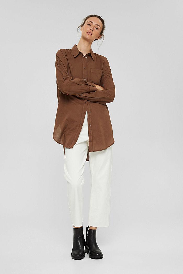 EarthColors® lange blouse, biologisch katoen, RUST BROWN, detail image number 6