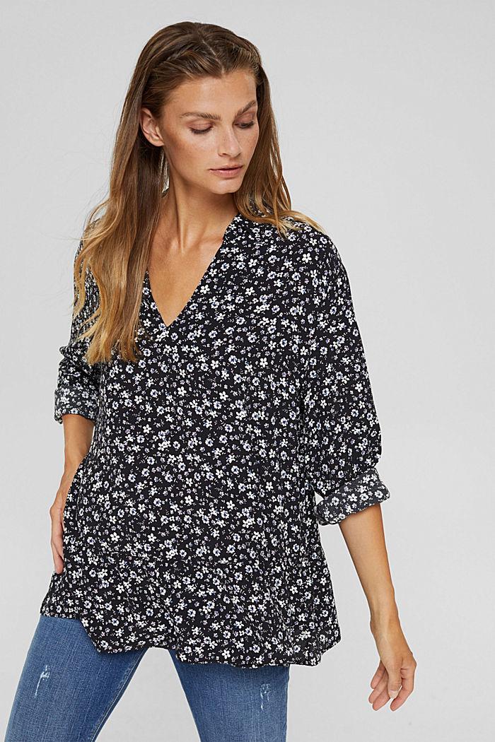 Print blouse with flounce hem, BLACK, detail image number 0