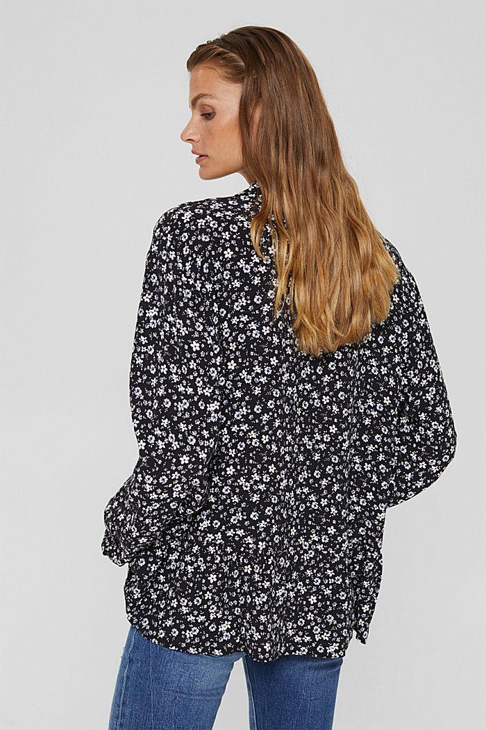 Print blouse with flounce hem, BLACK, detail image number 3