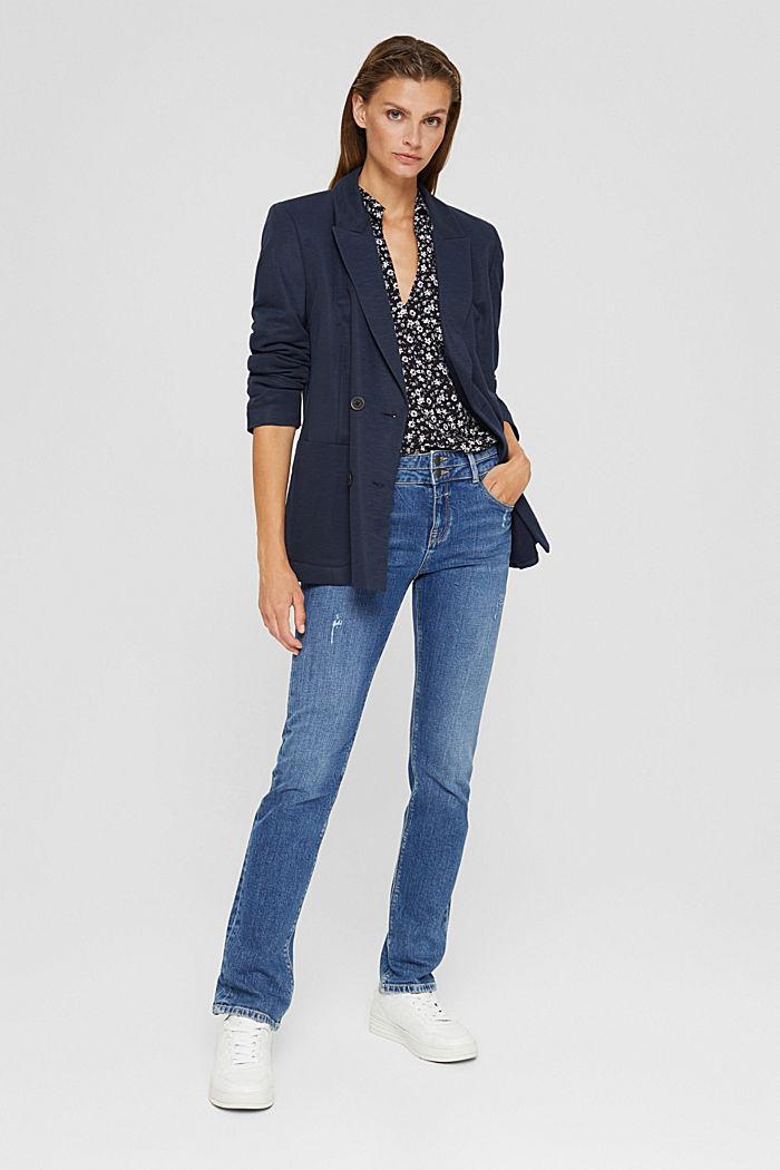 Print blouse with flounce hem, BLACK, detail image number 1