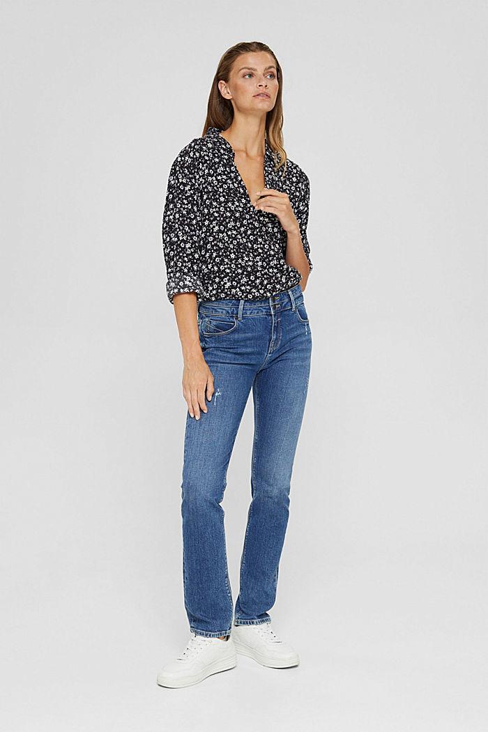 Print blouse with flounce hem, BLACK, detail image number 6