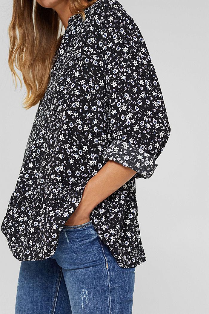 Print blouse with flounce hem, BLACK, detail image number 2