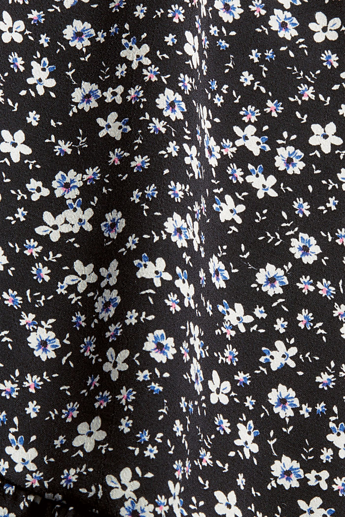 Print blouse with flounce hem, BLACK, detail image number 4