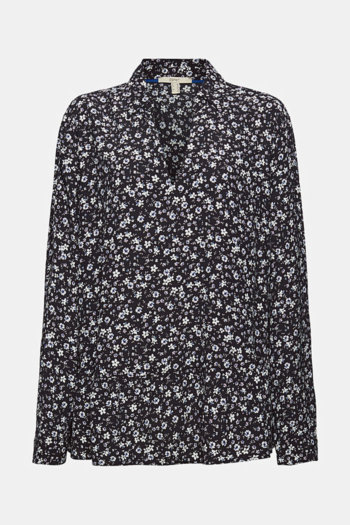 Print blouse with flounce hem, BLACK, detail image number 7
