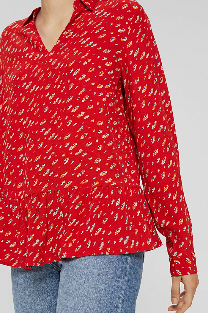 Print-Bluse mit Peplum, LENZING™ ECOVERO™, RED, detail image number 2