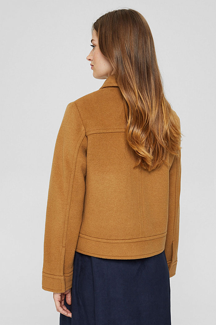Wool blend: jacket with patch pockets, CAMEL, detail image number 3