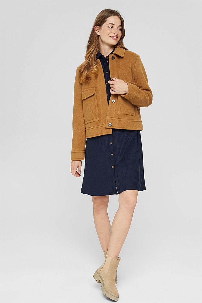 Wool blend: jacket with patch pockets, CAMEL, detail image number 1