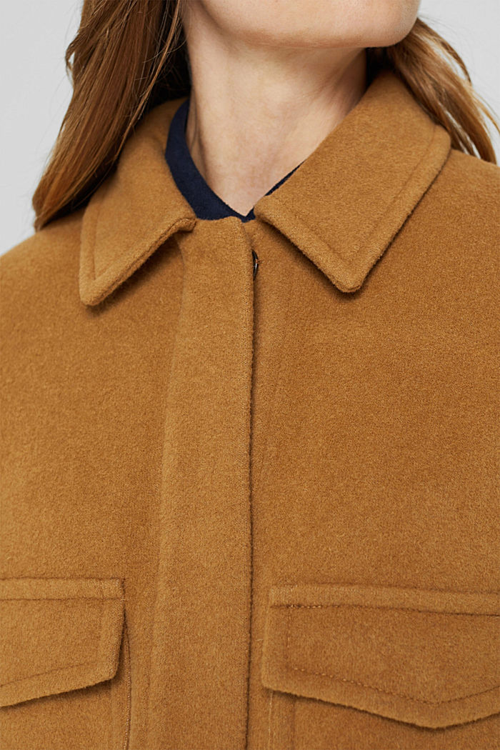 Wool blend: jacket with patch pockets, CAMEL, detail image number 2