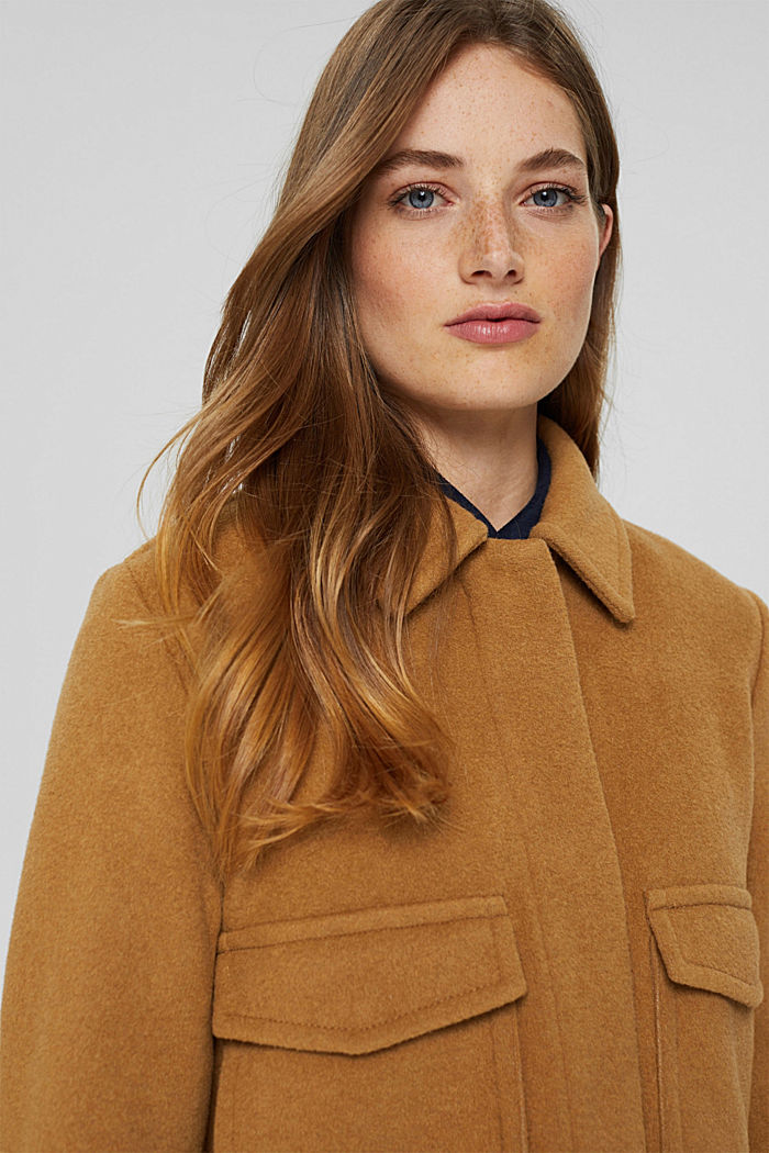 Wool blend: jacket with patch pockets, CAMEL, detail image number 5