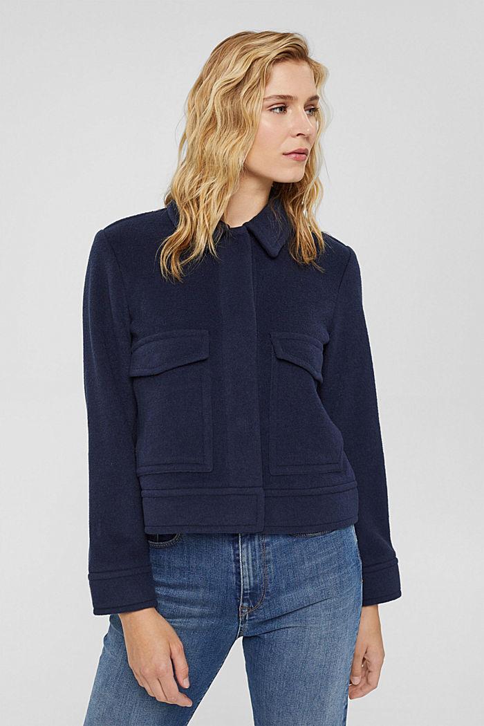 Mit Wolle: Jacke mit aufgesetzten Taschen, NAVY, detail image number 0