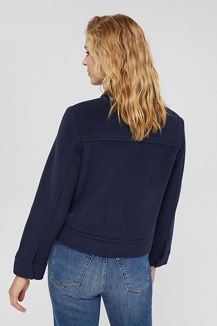 Mit Wolle: Jacke mit aufgesetzten Taschen, NAVY, detail image number 3