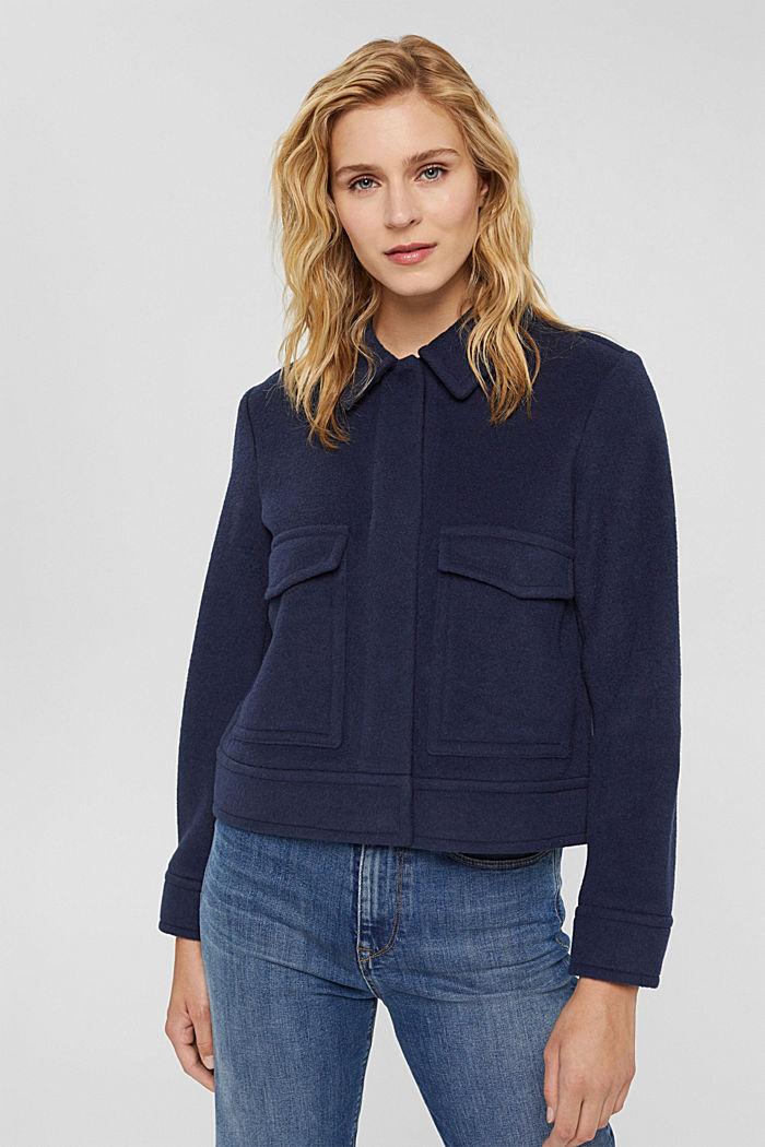 Mit Wolle: Jacke mit aufgesetzten Taschen, NAVY, detail image number 5
