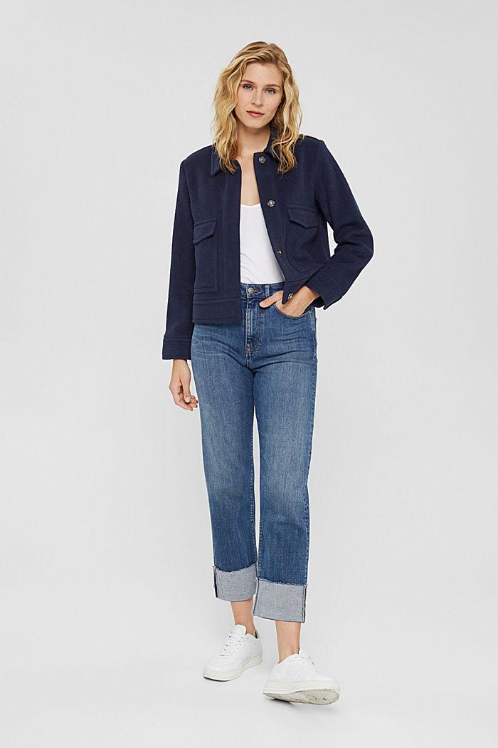 Mit Wolle: Jacke mit aufgesetzten Taschen, NAVY, detail image number 1