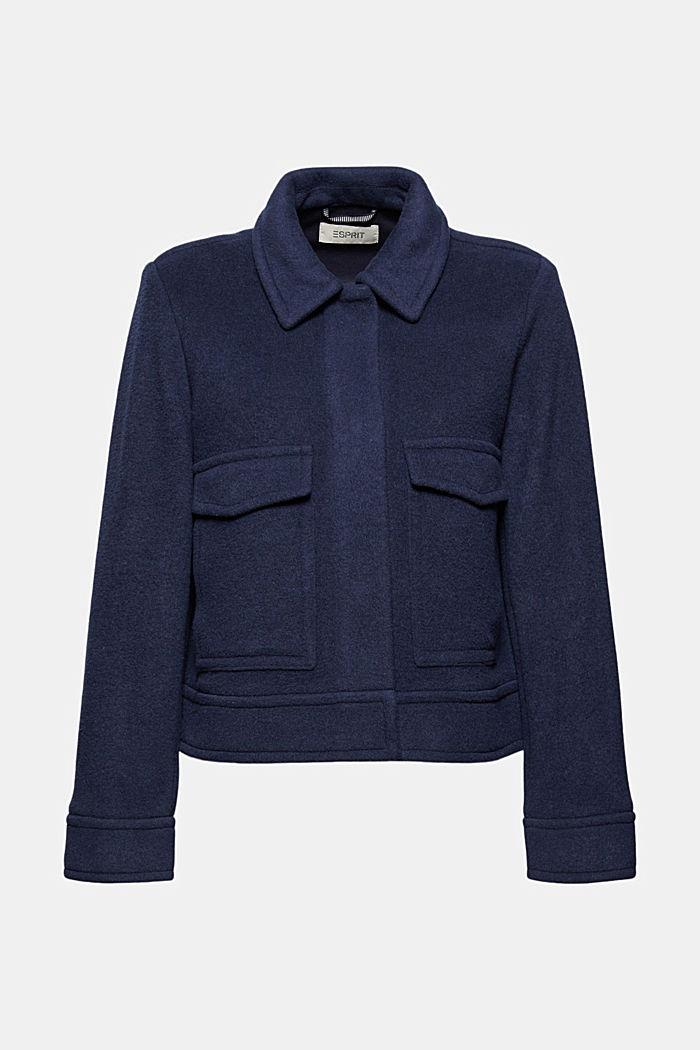 Mit Wolle: Jacke mit aufgesetzten Taschen, NAVY, detail image number 6