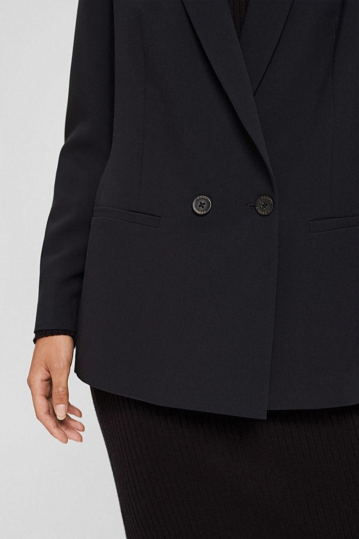 Blazer casual con diseño de dos filas de botones, BLACK, detail image number 2