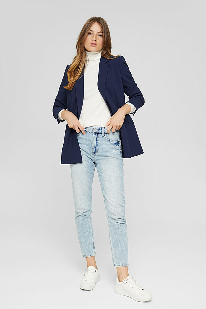 Relaxed double-breasted blazer, NAVY, detail image number 1