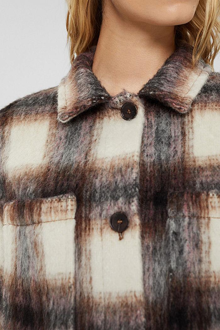 Van een mix met gerecyclede wol: harige shacket met ruiten, BLACK, detail image number 2