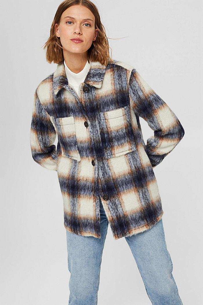 En laine mélangée recyclée : la veste velue à carreaux, NAVY, detail image number 0