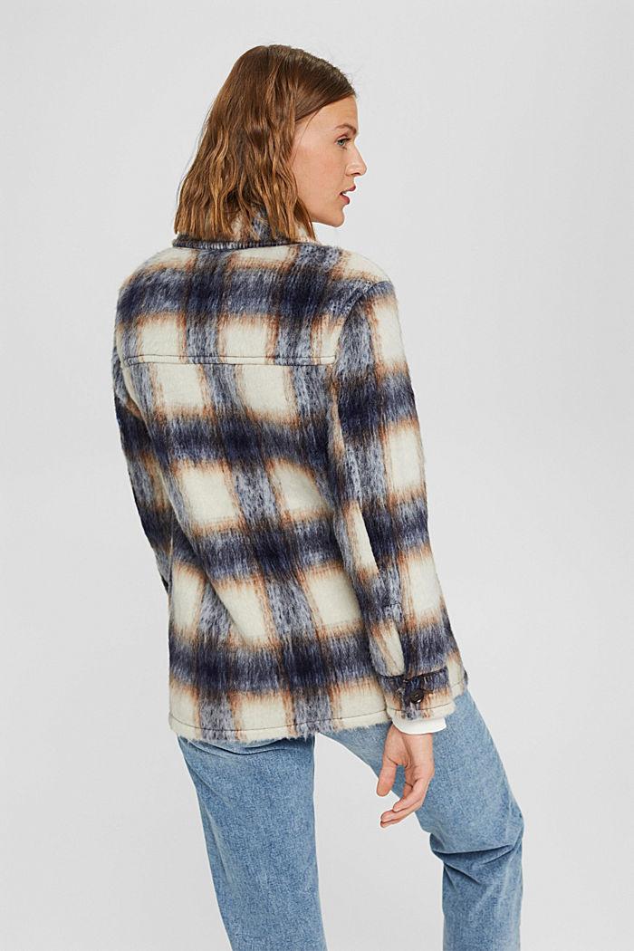 En laine mélangée recyclée : la veste velue à carreaux, NAVY, detail image number 3