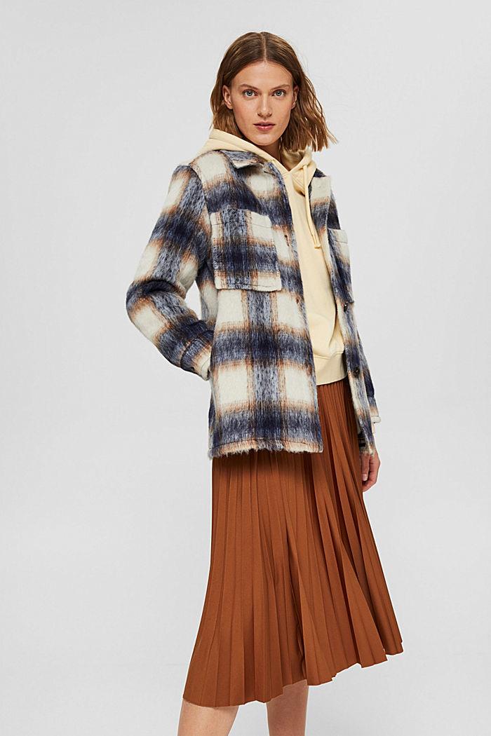 En laine mélangée recyclée : la veste velue à carreaux, NAVY, detail image number 5