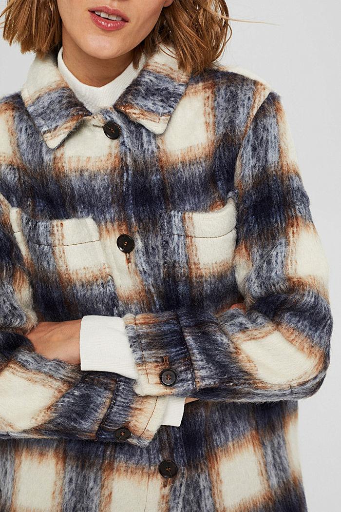 En laine mélangée recyclée : la veste velue à carreaux, NAVY, detail image number 2