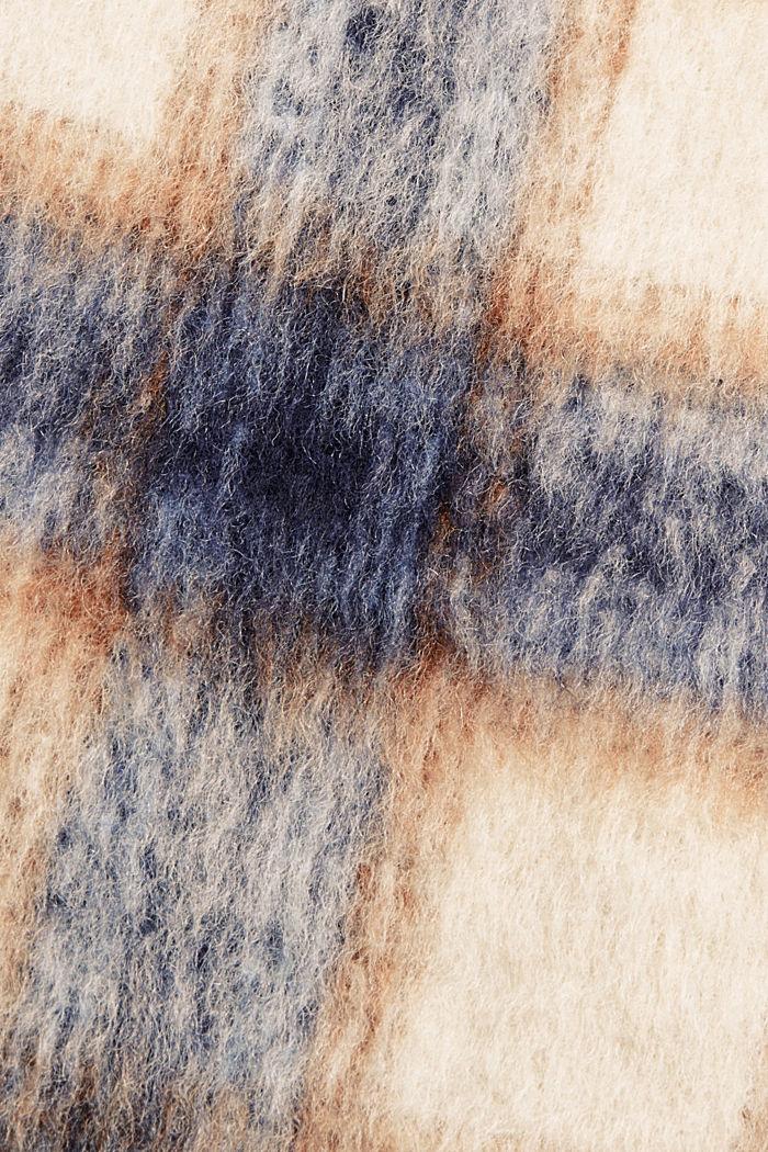 En laine mélangée recyclée : la veste velue à carreaux, NAVY, detail image number 4