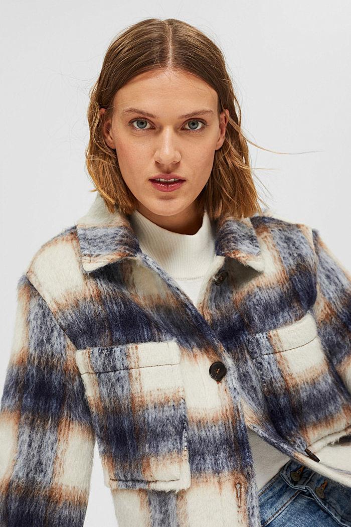 En laine mélangée recyclée : la veste velue à carreaux, NAVY, detail image number 6