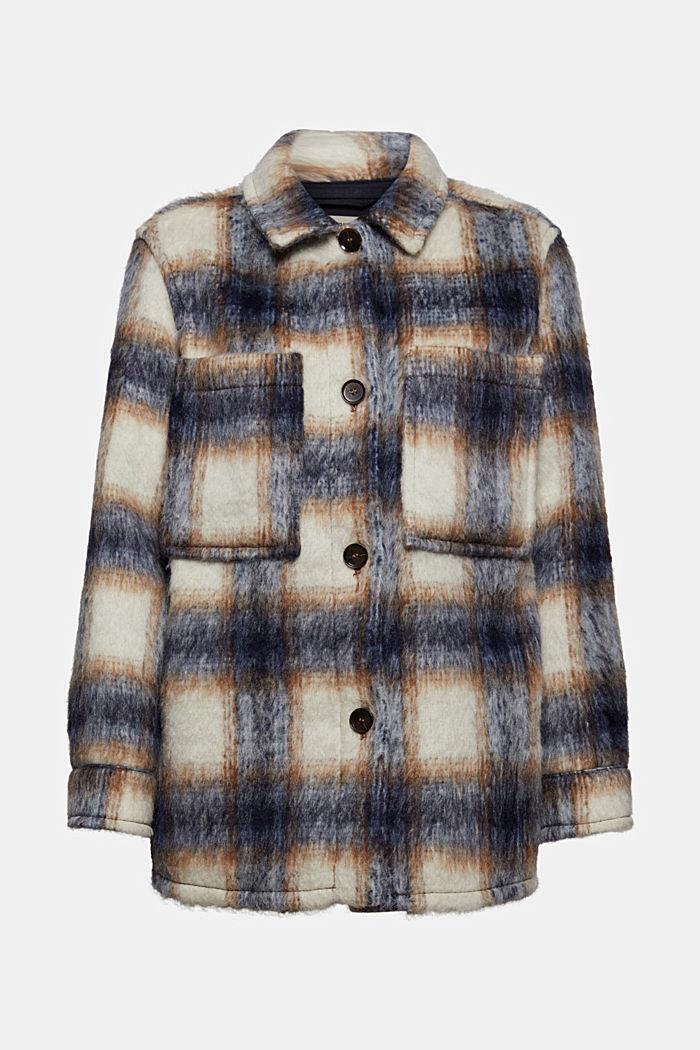 En laine mélangée recyclée : la veste velue à carreaux, NAVY, detail image number 8