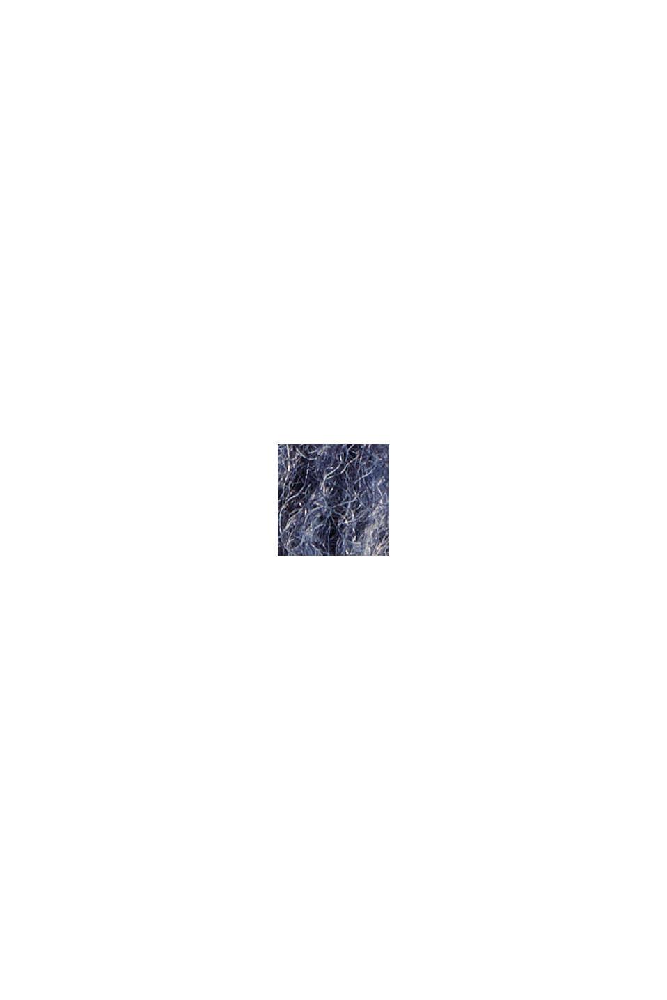 Aus recyceltem Woll-Mix: hairy Shacket mit Karo, NAVY, swatch