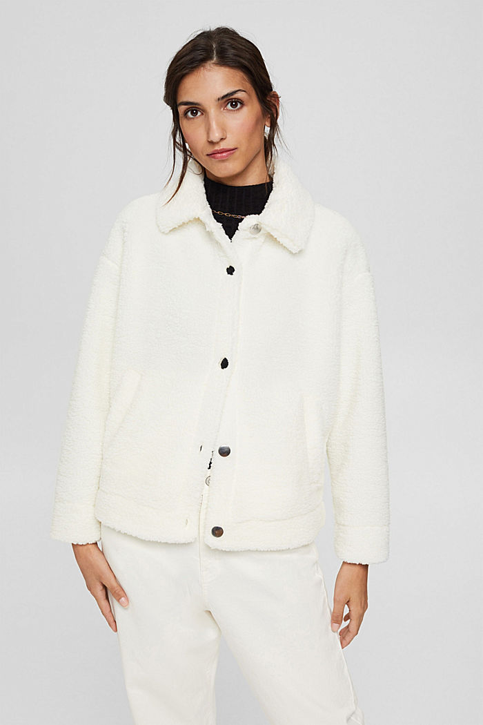Jacket made of snuggly plush material, OFF WHITE, detail image number 0