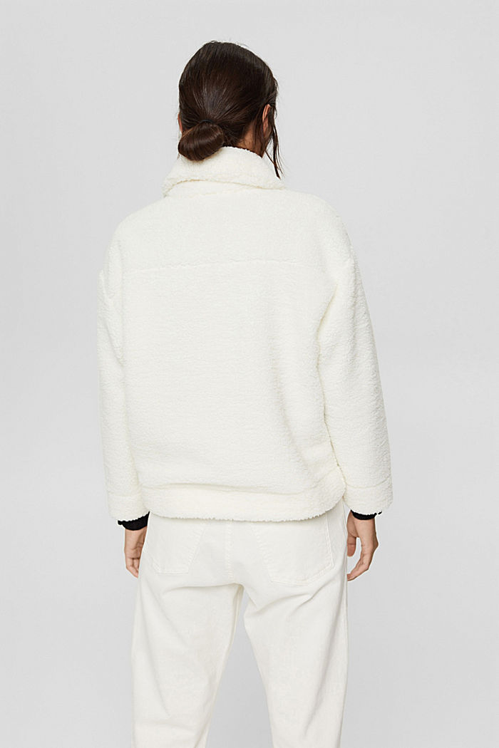 Jacket made of snuggly plush material, OFF WHITE, detail image number 3
