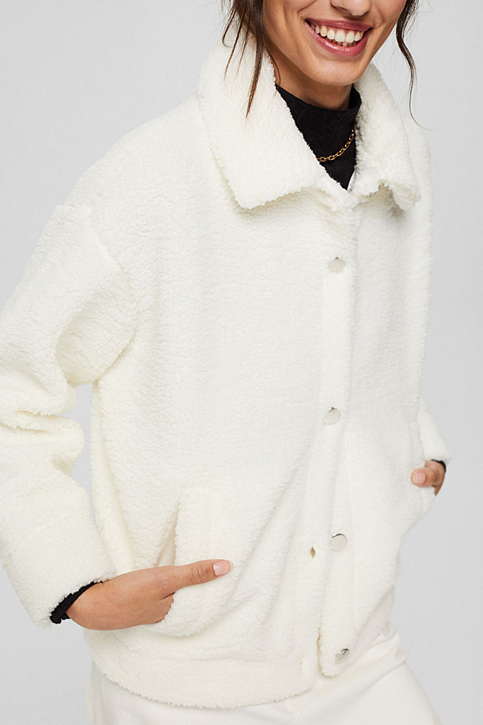 Jacket made of snuggly plush material, OFF WHITE, detail image number 2