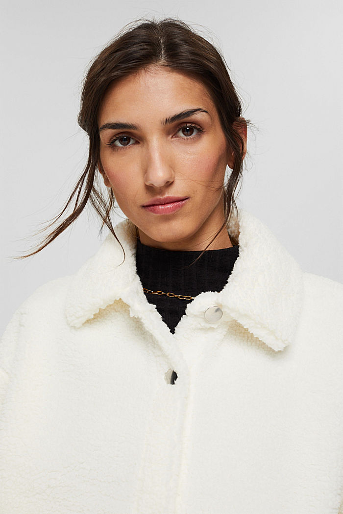 Jacket made of snuggly plush material, OFF WHITE, detail image number 5