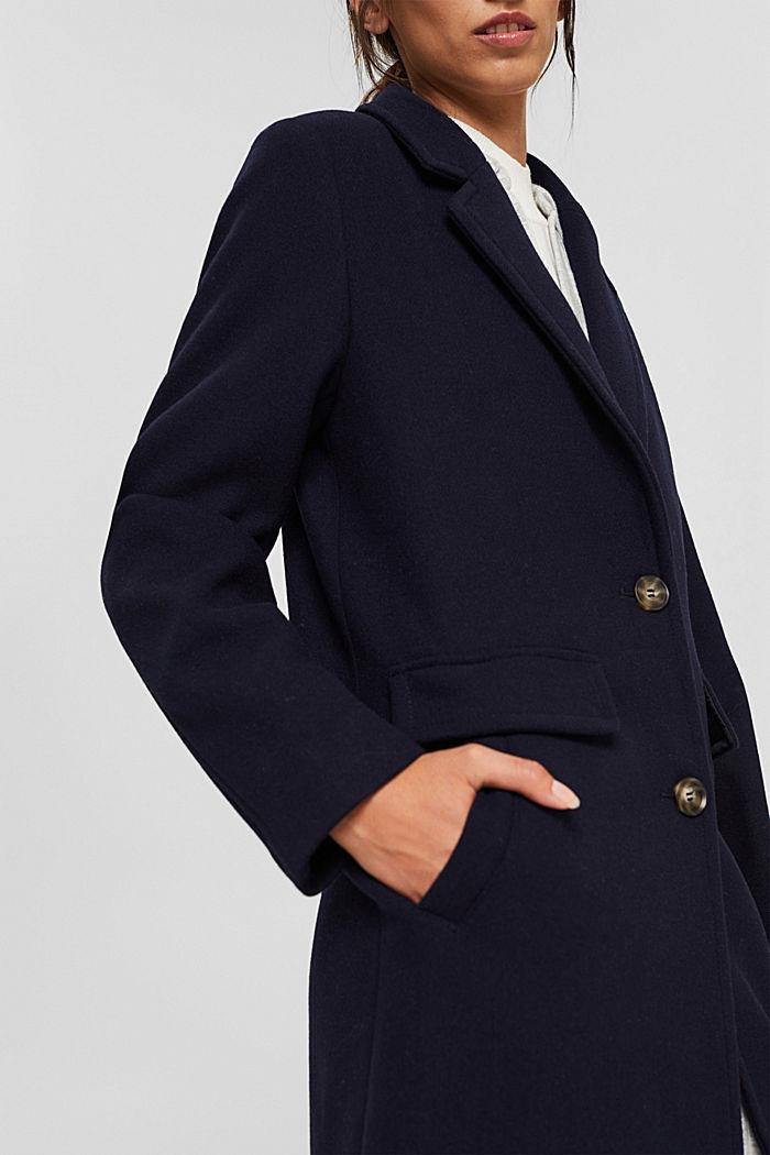 Gerecycled: mantel met reverskraag, van een wolmix, NAVY, detail image number 2