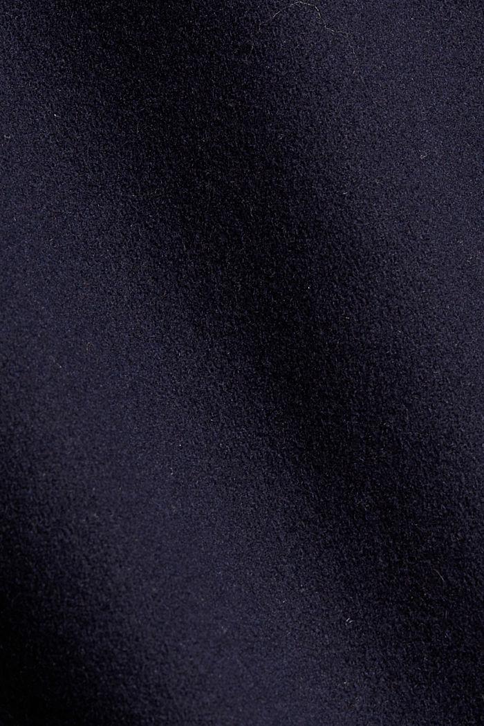 Gerecycled: mantel met reverskraag, van een wolmix, NAVY, detail image number 4