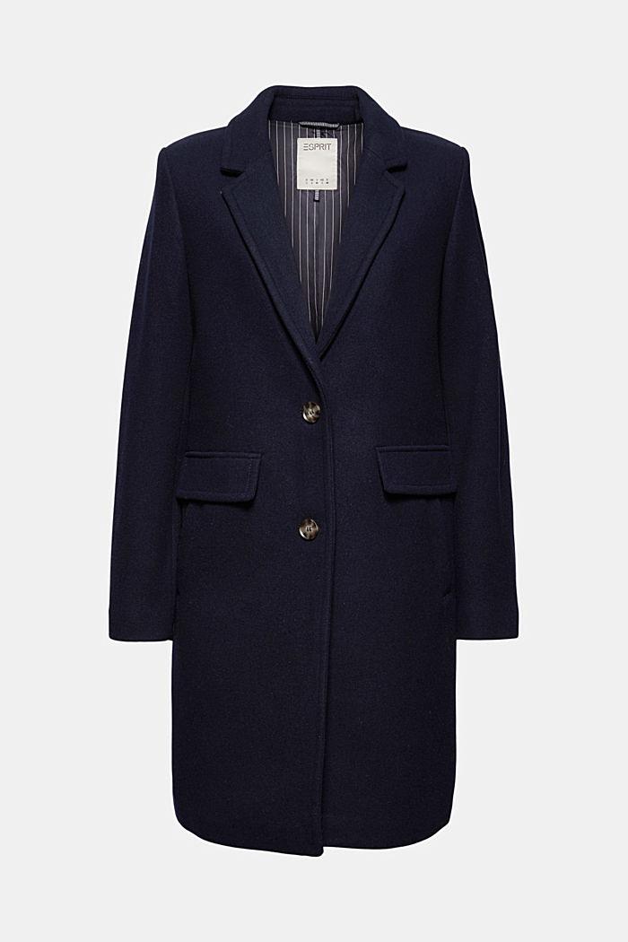 Gerecycled: mantel met reverskraag, van een wolmix, NAVY, detail image number 7