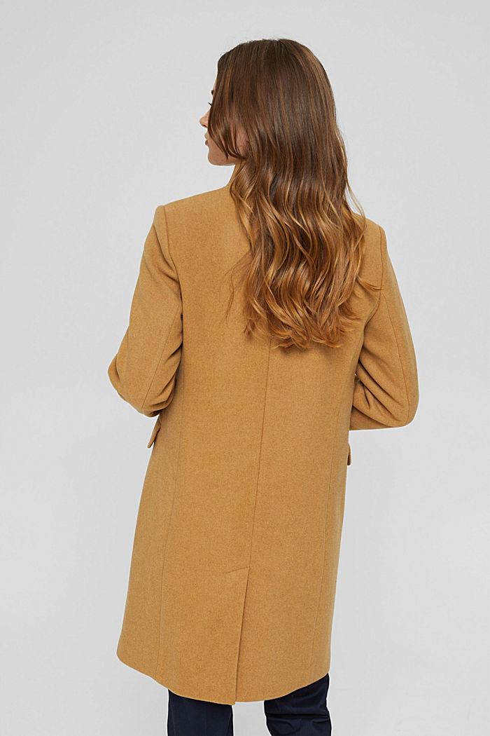 Aus recyceltem Woll-Mix: Mantel mit Stehkragen, CAMEL, detail image number 3