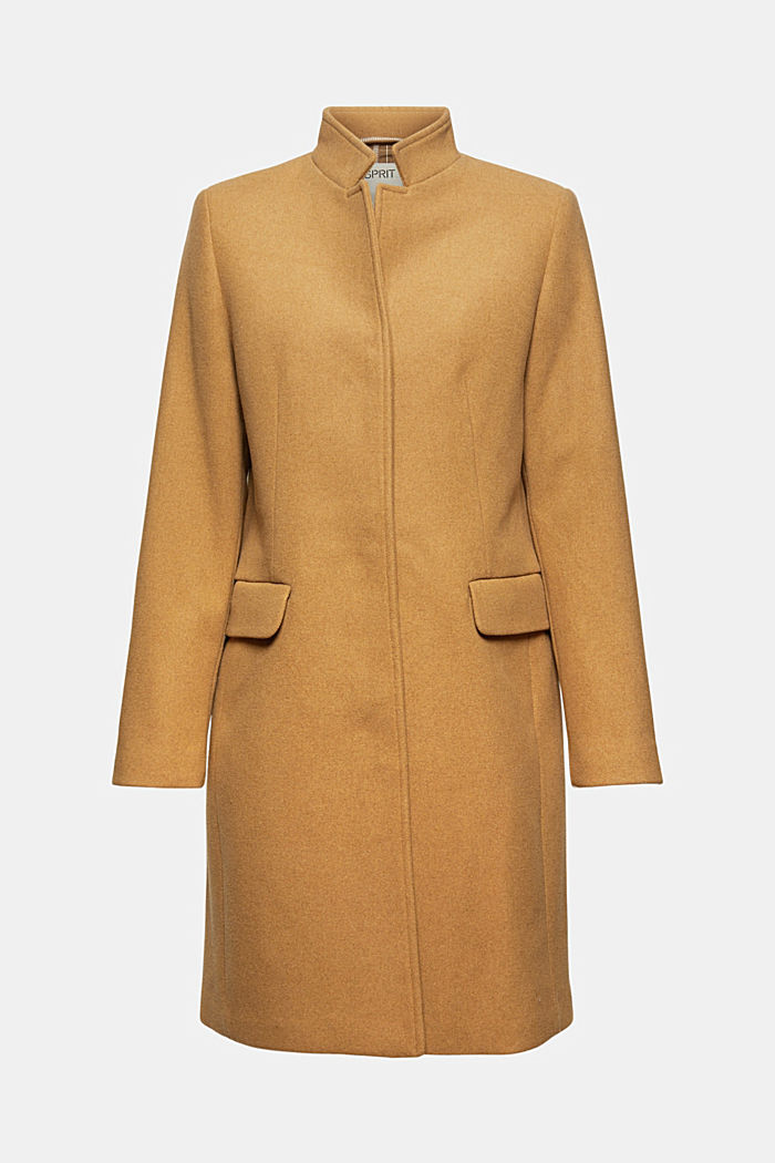 Made of a recycled wool blend: coat with a stand-up collar